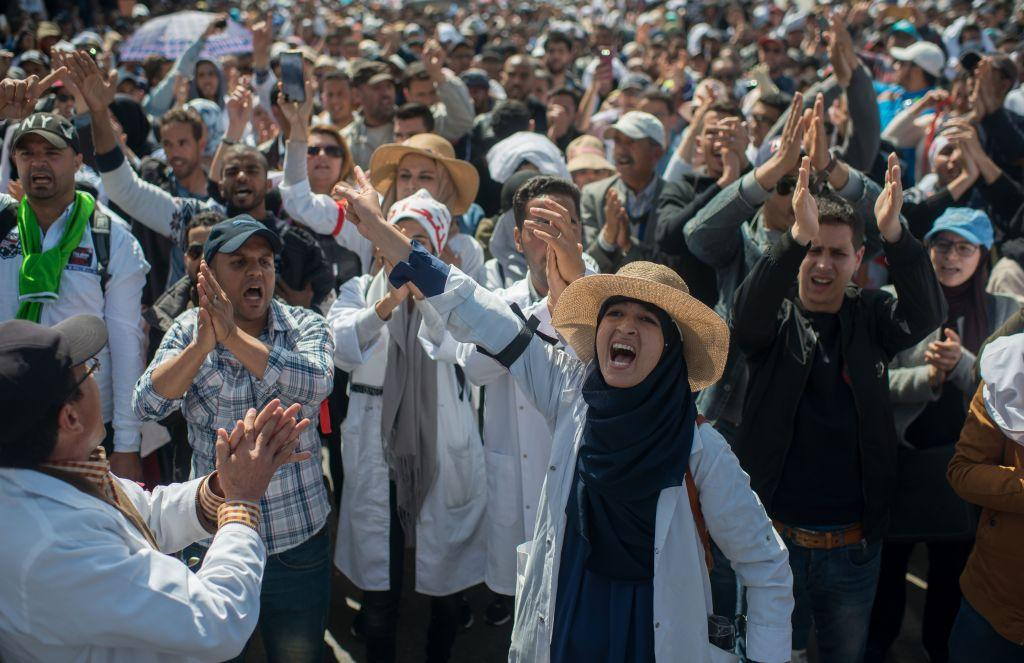 Moroccan Police Use Water Cannons against Striking Teachers